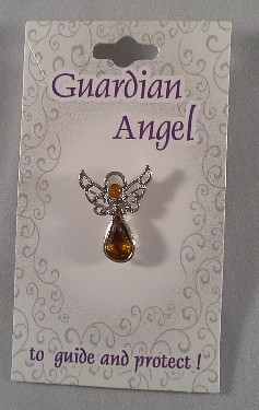 Guardian Angel Crystal Pin: Amber